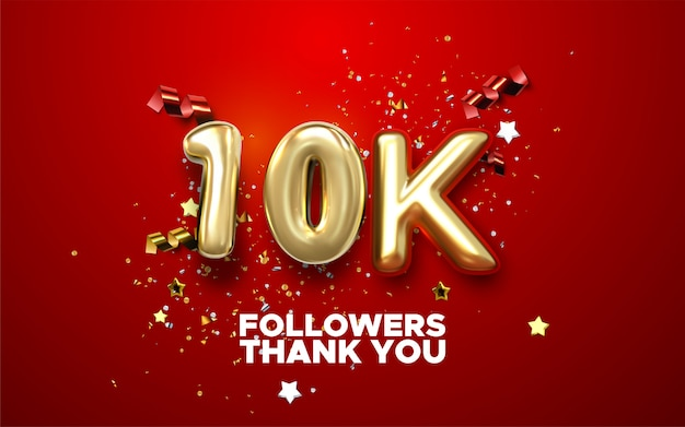 Thank you 10k followers banner. thanks followers congratulation card.   illustration for social networks. web user or blogger celebrates Premium Vector