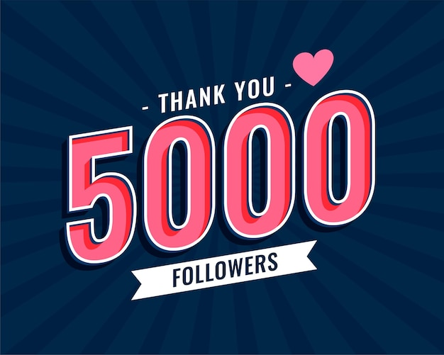 Thank you 5000 social media followers template design Free Vector