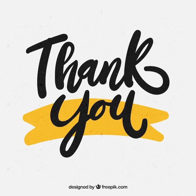 Thank you background with black lettering Premium Vector