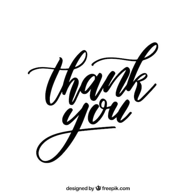 Thank you background with black lettering Free Vector