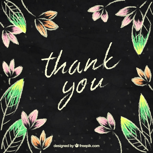thank you background with chalk design vector free download
