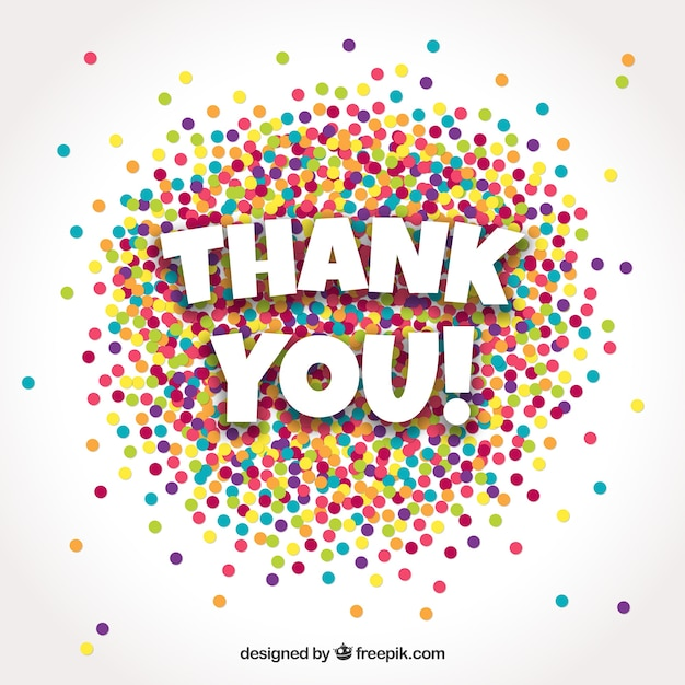 Thank you background with colorful confetti Free Vector