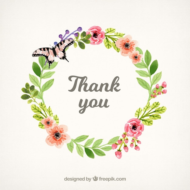 Thank you background with floral watercolor wreath