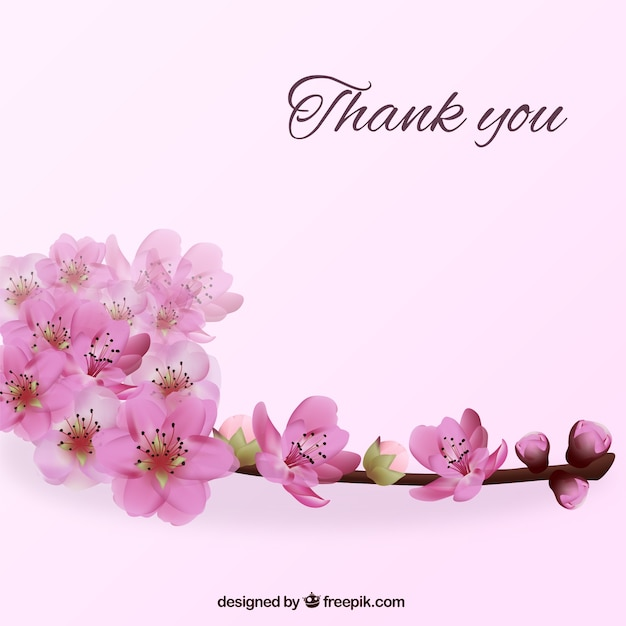 Thank You Background With Flowers Vector