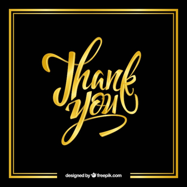 Thank you background with golden lettering Free Vector