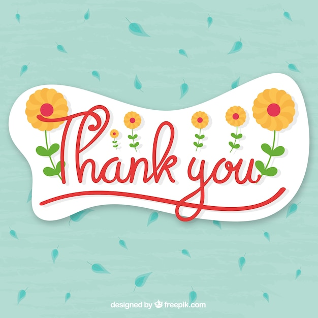 Thank you background with leaves and flowers Free Vector