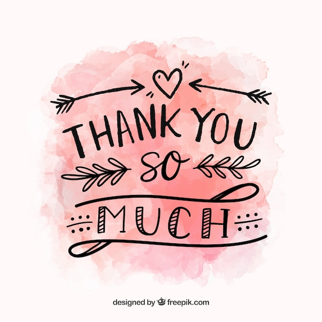 hand drawn lettering thank you background with lettering in watercolor stain 27633