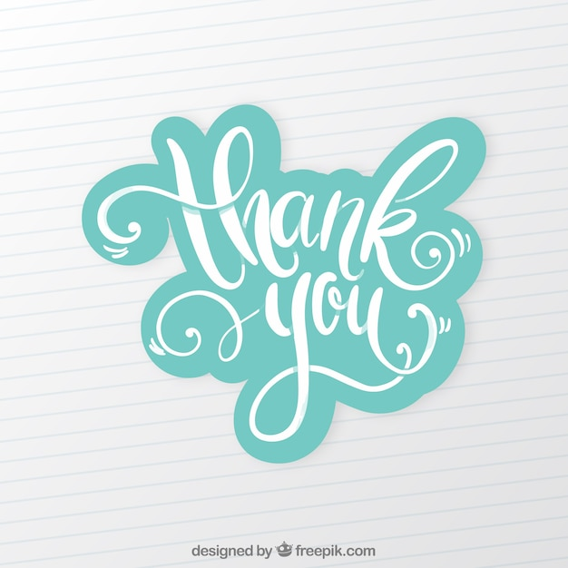 Thank you background with lettering Free Vector