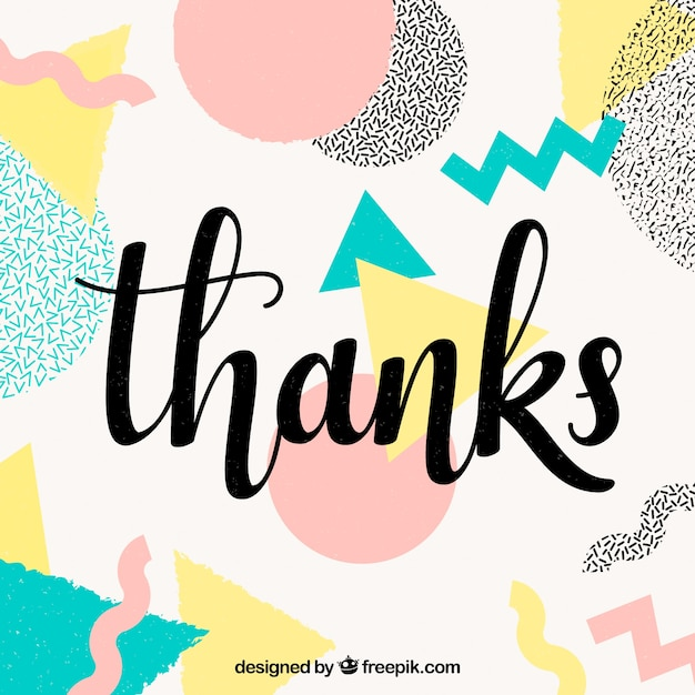 thank you background with multicolor shapes free vector