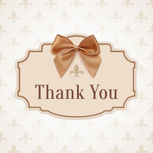 ありがとうございました。金色のリボンと弓のバナー。 Premiumベクター