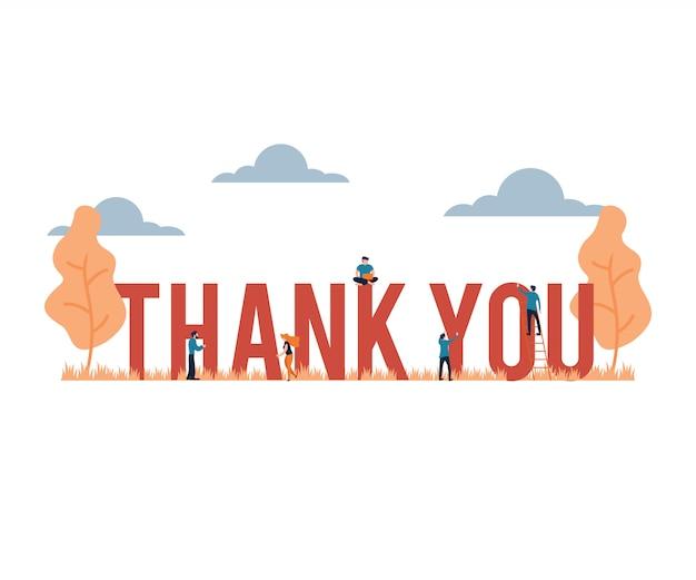 Thank you big word presentation flat cartoon style Premium Vector