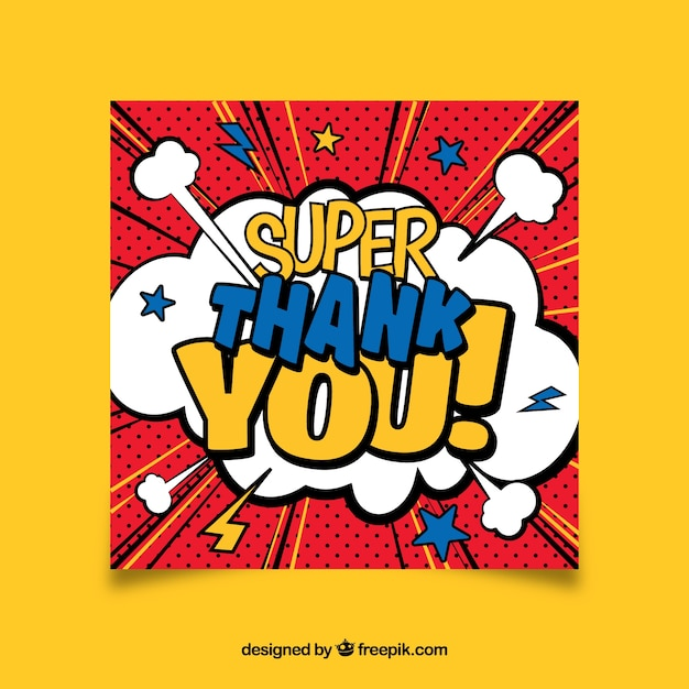 Thank you card comic design Vector | Free Download