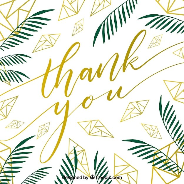 thank you card leaves design vector