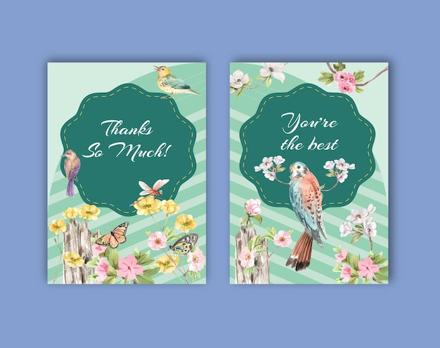 Thank you card template set with birds and spring concept Free Vector