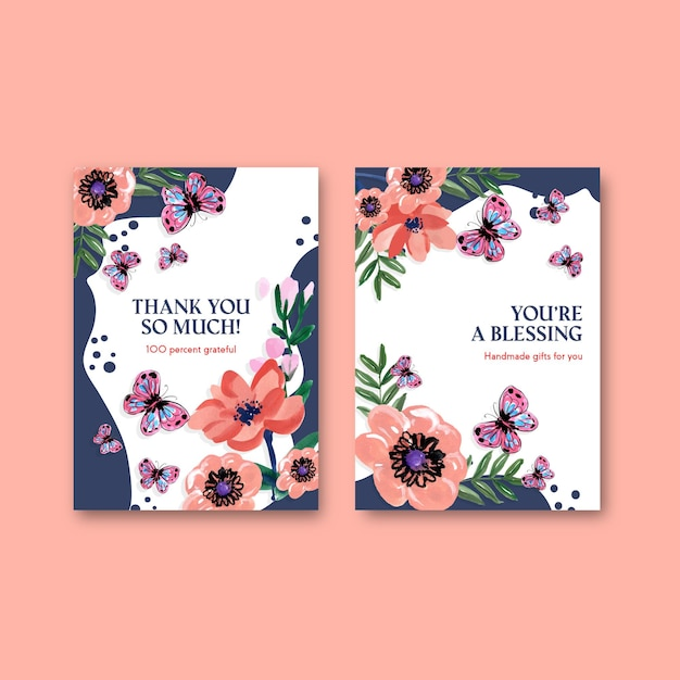 Thank you card template with brush florals concept design for invitation watercolor Free Vector