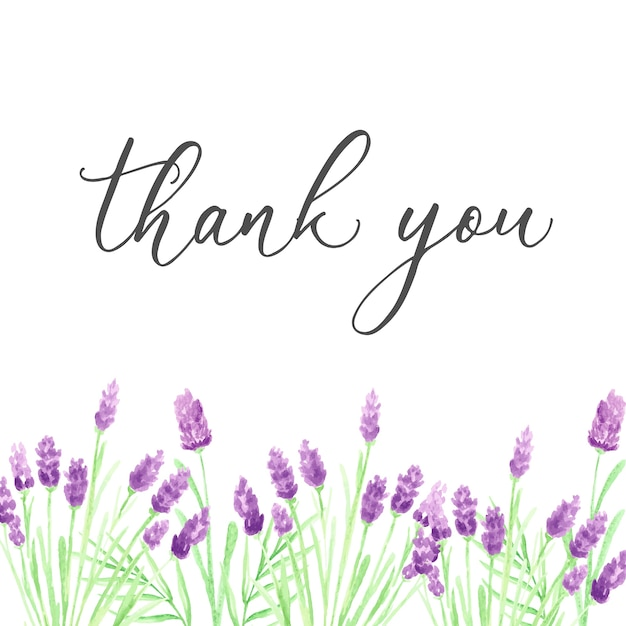 Thank You Card Template | Thank You Card Template With Hand Drawn Purple Watercolor Flowers