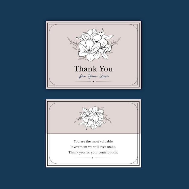 Modello di carta di ringraziamento con fiore di arte di linea Vettore gratuito