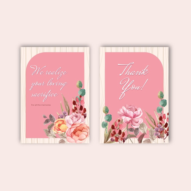 Thank you card template with love blooming concept design watercolor illustration Free Vector
