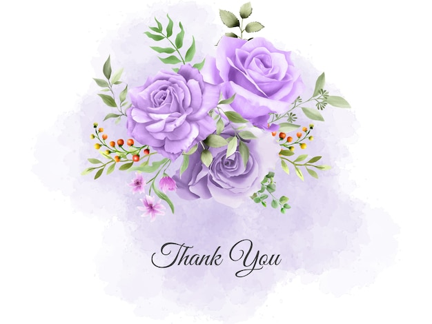 Thank you card template with purple roses bouquet design Premium Vector