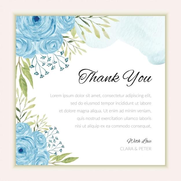 수채화 블루 장미 장식으로 감사 카드 템플릿 프리미엄 벡터