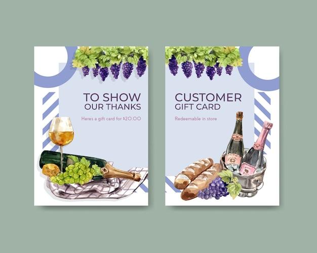 Шаблон карты благодарности с концептуальным дизайном винной фермы для приветствия и юбилейной акварельной иллюстрации. Бесплатные векторы