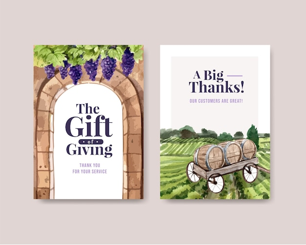 Thank you card template with wine farm concept design for greeting and anniversary watercolor illustration. Free Vector