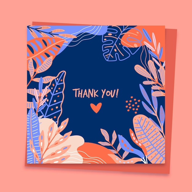 Thank you card template Free Vector