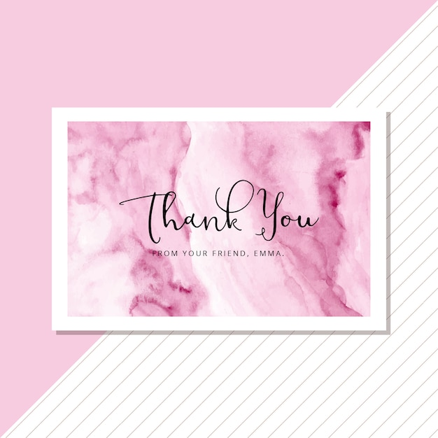 Thank you card with abstract soft pink watercolor background Premium Vector