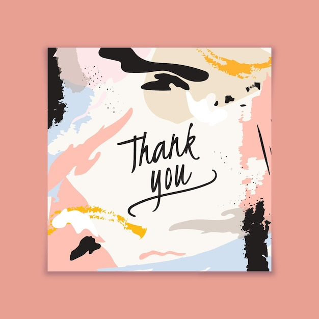 Thank you card with abstract stained design Free Vector