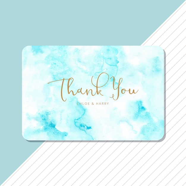 Thank you card with blue abstract watercolor background Premium Vector
