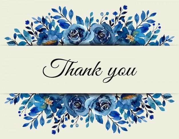 푸른 꽃 수채화 감사 카드 프리미엄 벡터