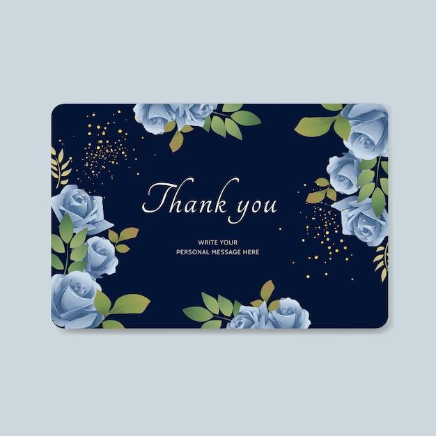 青い花のベクトルの背景とお礼状 Premiumベクター