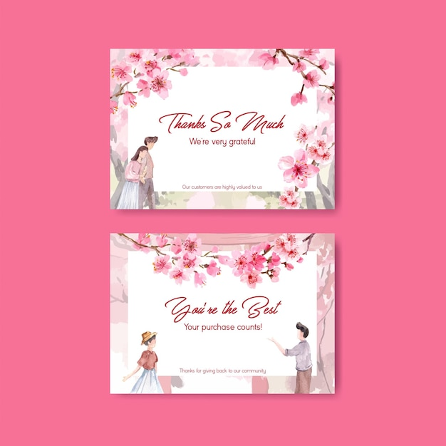 Thank you card with cherry blossom concept design watercolor illustration Free Vector