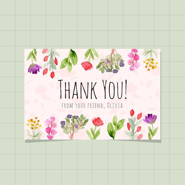 Thank you card with floral garden watercolor background Premium Vector