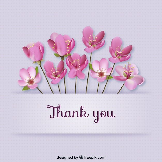 Thank you card with flowers | Free Vector