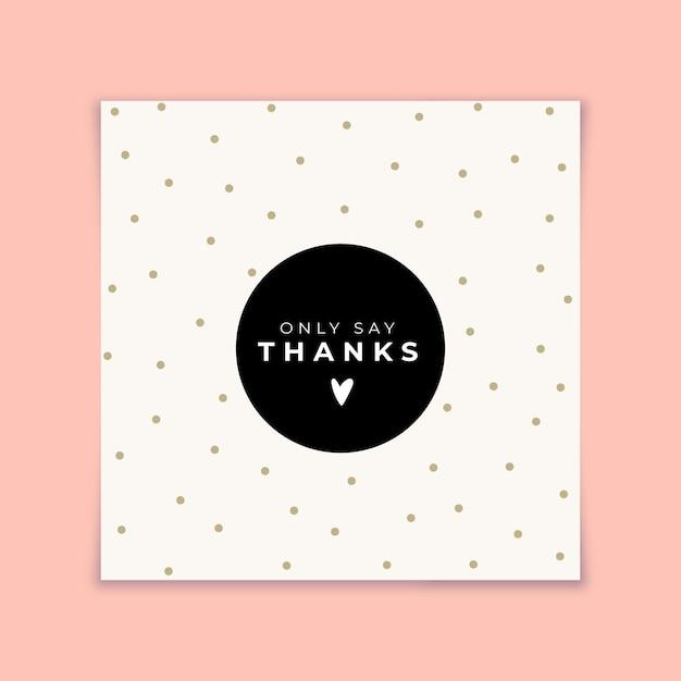 Biglietto di ringraziamento con punti dorati Vettore gratuito