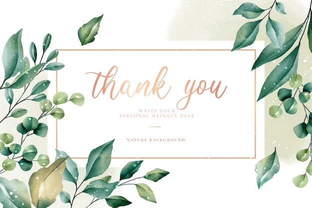 Thank you card with green leaves Free Vector