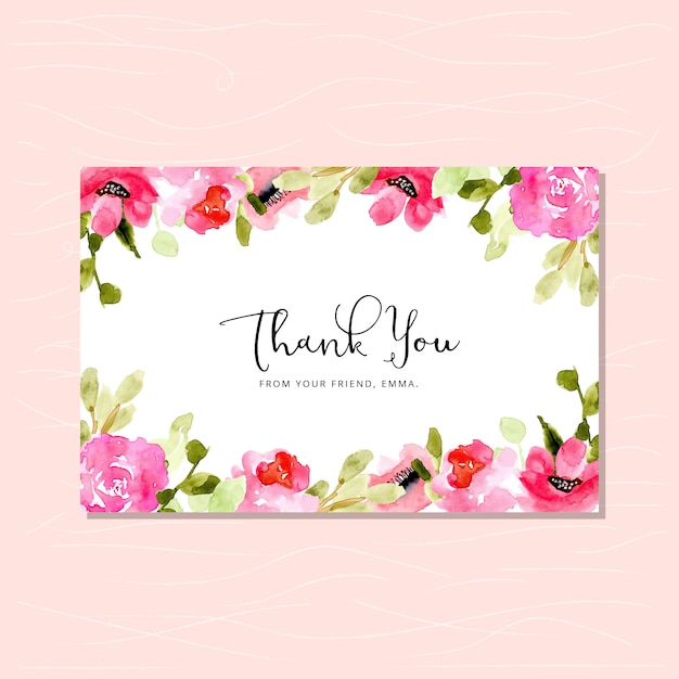 Thank you card with pink floral watercolor frame Premium Vector