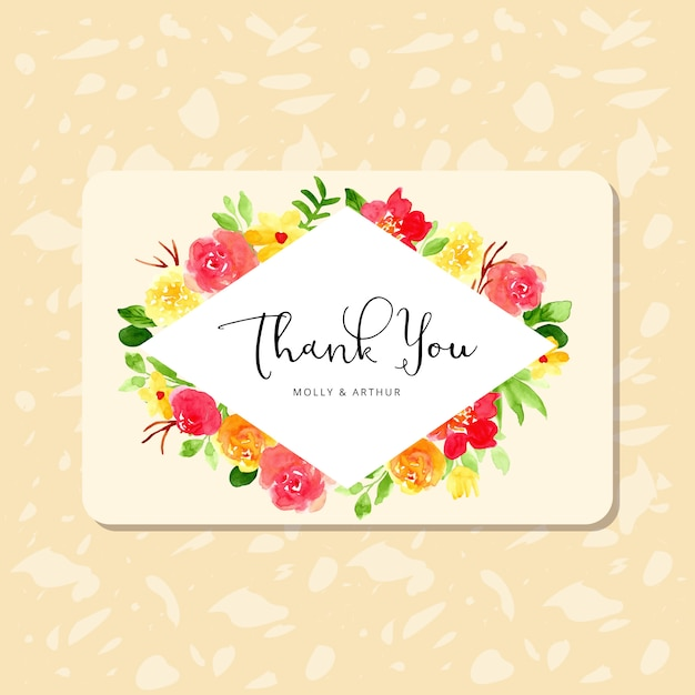 Thank you card with pretty watercolor flower frame Premium Vector