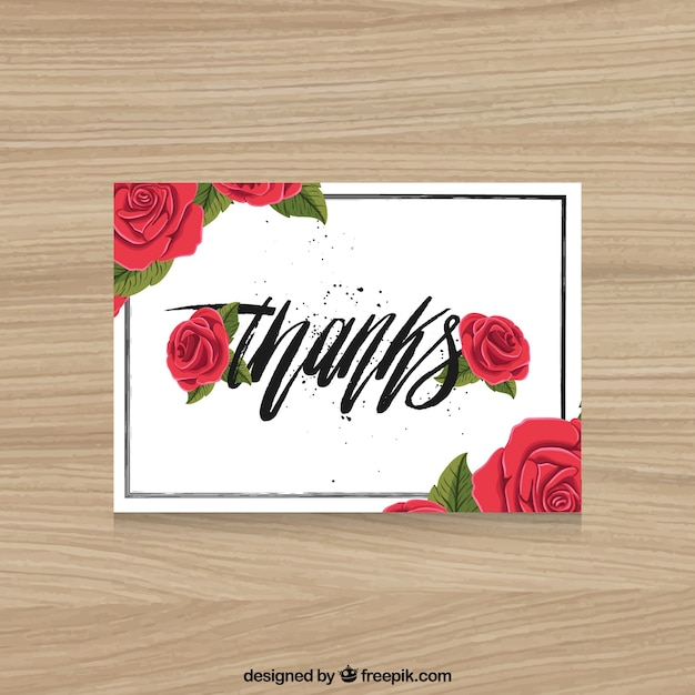 Thank you card with roses Free Vector