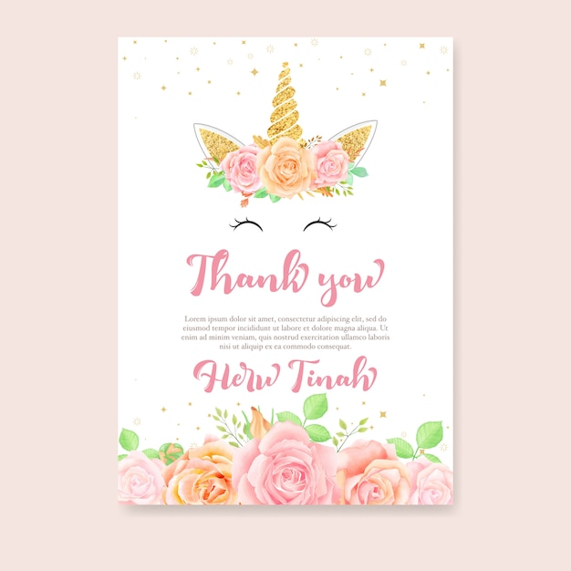 Thank you card with unicorn and pink floral Premium Vector