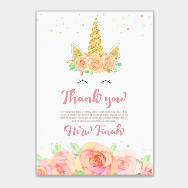 Thank you card with unicorn and pink floral Vector | Premium