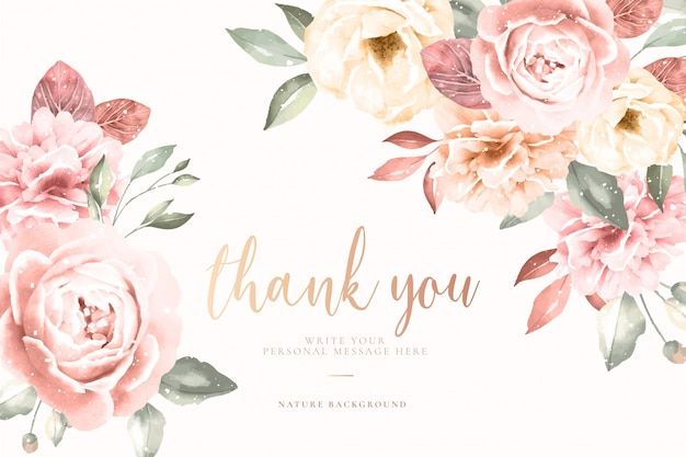 Thank you card with vintage floral frame Free Vector