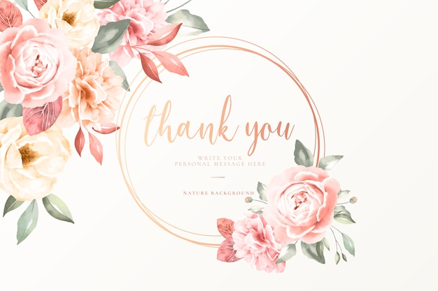Thank you card with vintage flowers Free Vector
