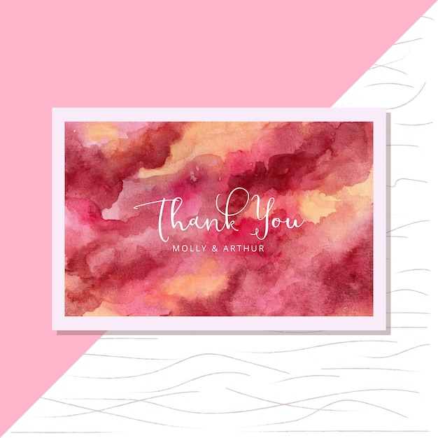 Thank you card with yellow red abstract watercolor card Premium Vector