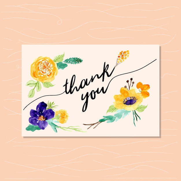 thank you card with yellow violet floral background