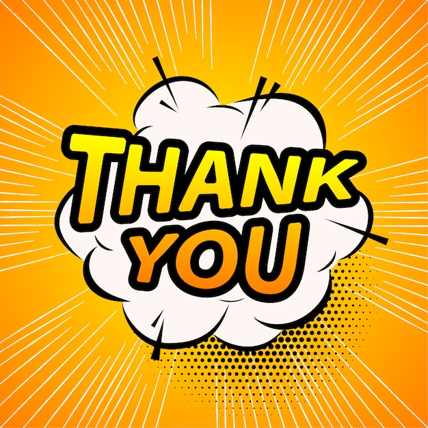 Thank you in comic style Premium Vector