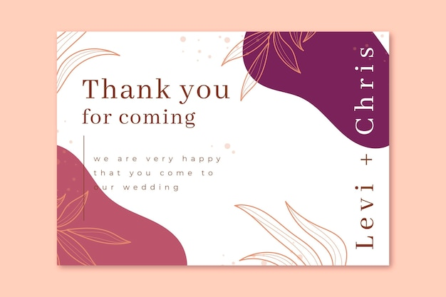 Thank you for coming to our wedding card template Free Vector