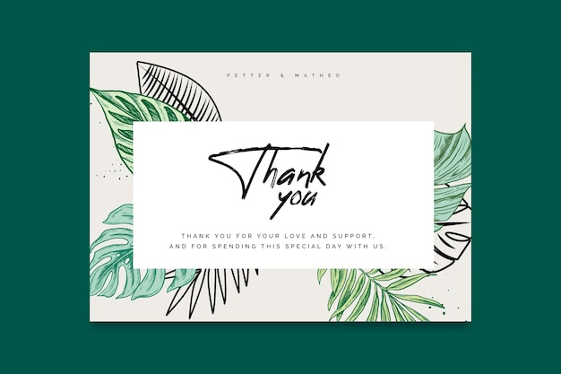 Thank you for coming wedding card template Free Vector