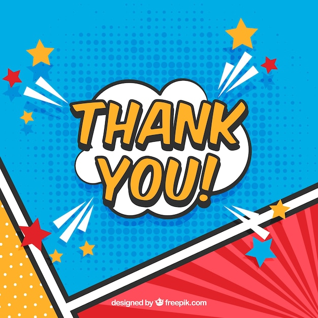 Thank you composition in comic style Free Vector